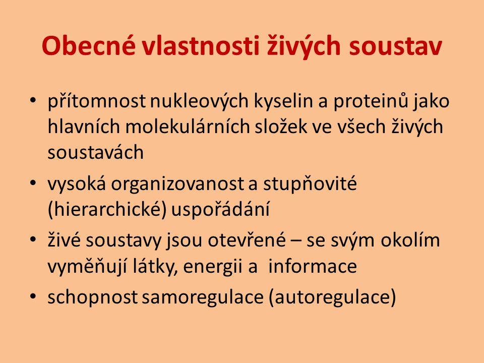 Obecné vlastnosti živých soustav přítomnost nukleových kyselin a proteinů jako hlavních molekulárních složek ve všech živých soustavách vysoká organiz