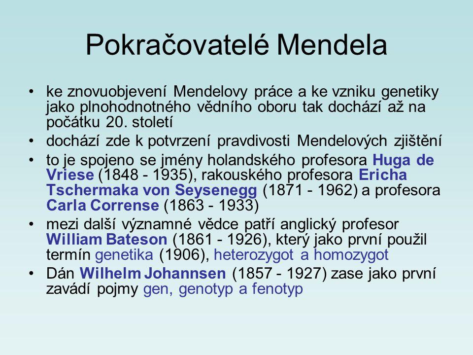 Pokračovatelé Mendela ke znovuobjevení Mendelovy práce a ke vzniku genetiky jako plnohodnotného vědního oboru tak dochází až na počátku 20. století do