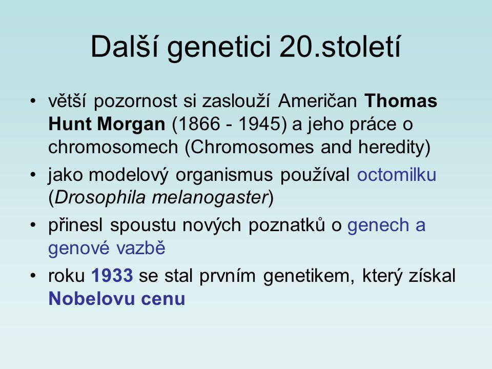 Další genetici 20.století větší pozornost si zaslouží Američan Thomas Hunt Morgan (1866 - 1945) a jeho práce o chromosomech (Chromosomes and heredity)