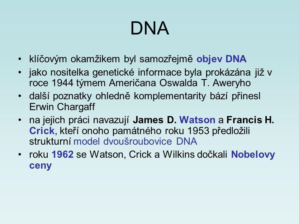 DNA klíčovým okamžikem byl samozřejmě objev DNA jako nositelka genetické informace byla prokázána již v roce 1944 týmem Američana Oswalda T. Aweryho d