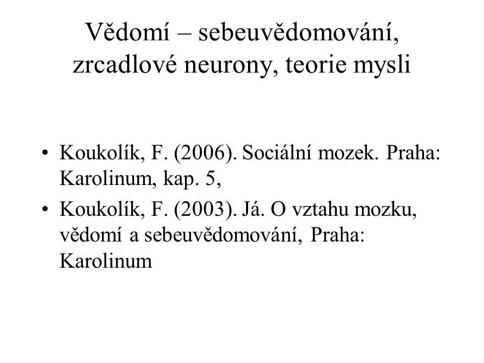Vědomí – sebeuvědomování, zrcadlové neurony, teorie mysli Koukolík, F. (2006). Sociální mozek. Praha: Karolinum, kap. 5, Koukolík, F. (2003). Já. O vz