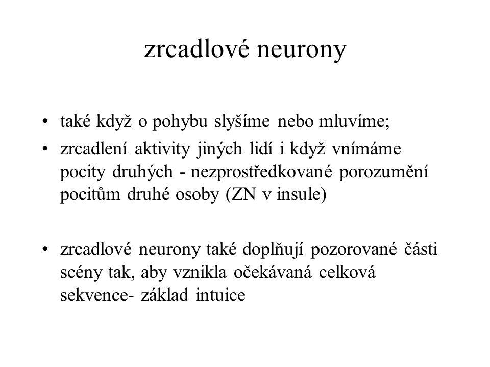 zrcadlové neurony zrcadlové neurony- od narození (zrcadlení výrazu tváře u novorozených opic – např.