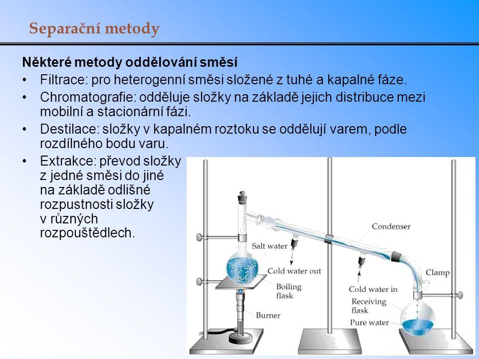 Separační metody Některé metody oddělování směsí Filtrace: pro heterogenní směsi složené z tuhé a kapalné fáze. Chromatografie: odděluje složky na zák