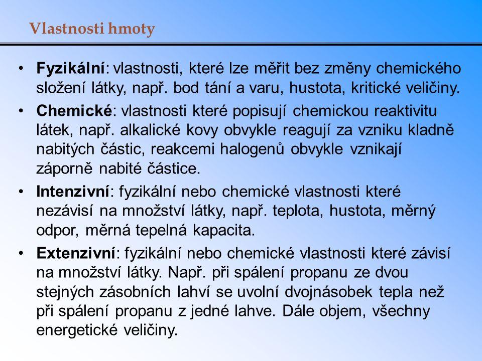 Vlastnosti hmoty Fyzikální: vlastnosti, které lze měřit bez změny chemického složení látky, např. bod tání a varu, hustota, kritické veličiny. Chemick
