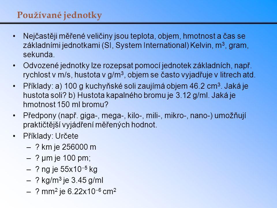 Používané jednotky Nejčastěji měřené veličiny jsou teplota, objem, hmotnost a čas se základními jednotkami (SI, System International) Kelvin, m 3, gram, sekunda.
