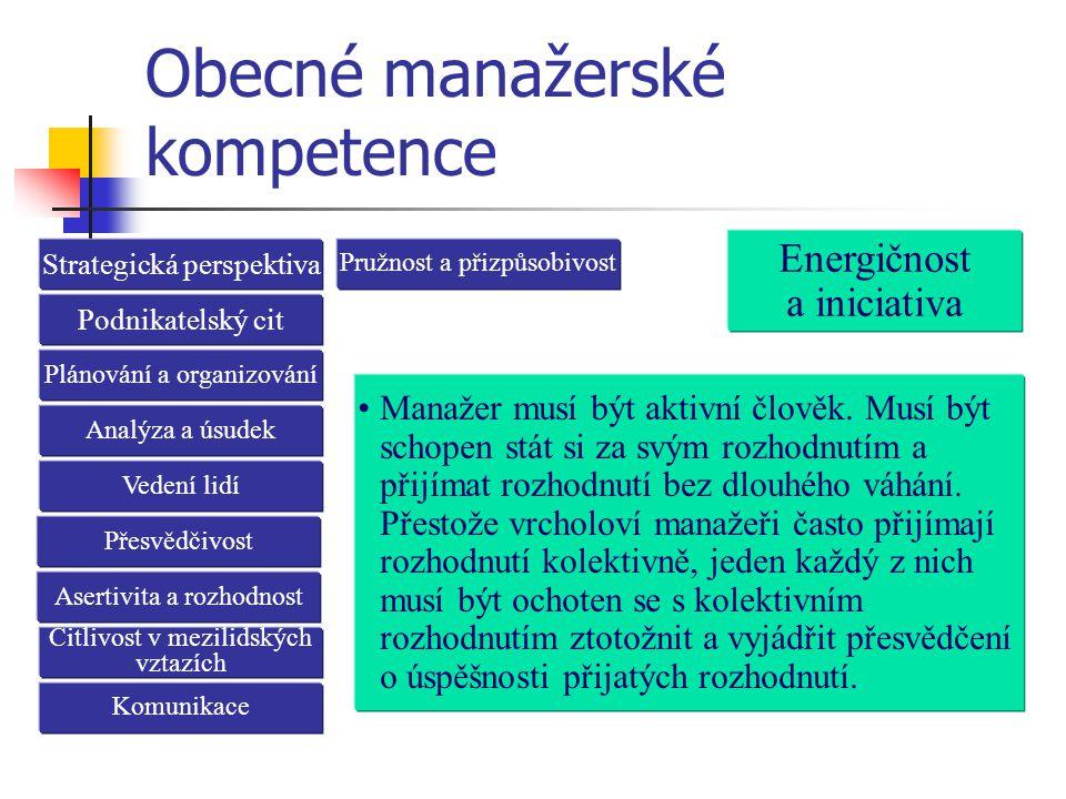 Obecné manažerské kompetence Strategická perspektiva Manažer musí být aktivní člověk. Musí být schopen stát si za svým rozhodnutím a přijímat rozhodnu