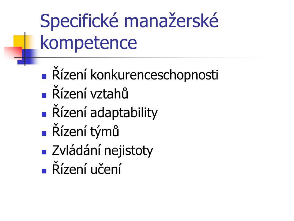 Specifické manažerské kompetence Řízení konkurenceschopnosti Řízení vztahů Řízení adaptability Řízení týmů Zvládání nejistoty Řízení učení
