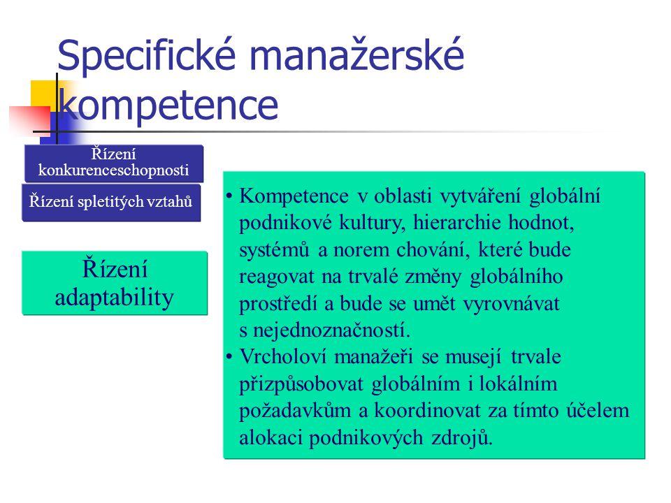 Specifické manažerské kompetence Řízení konkurenceschopnosti Řízení adaptability Kompetence v oblasti vytváření globální podnikové kultury, hierarchie hodnot, systémů a norem chování, které bude reagovat na trvalé změny globálního prostředí a bude se umět vyrovnávat s nejednoznačností.