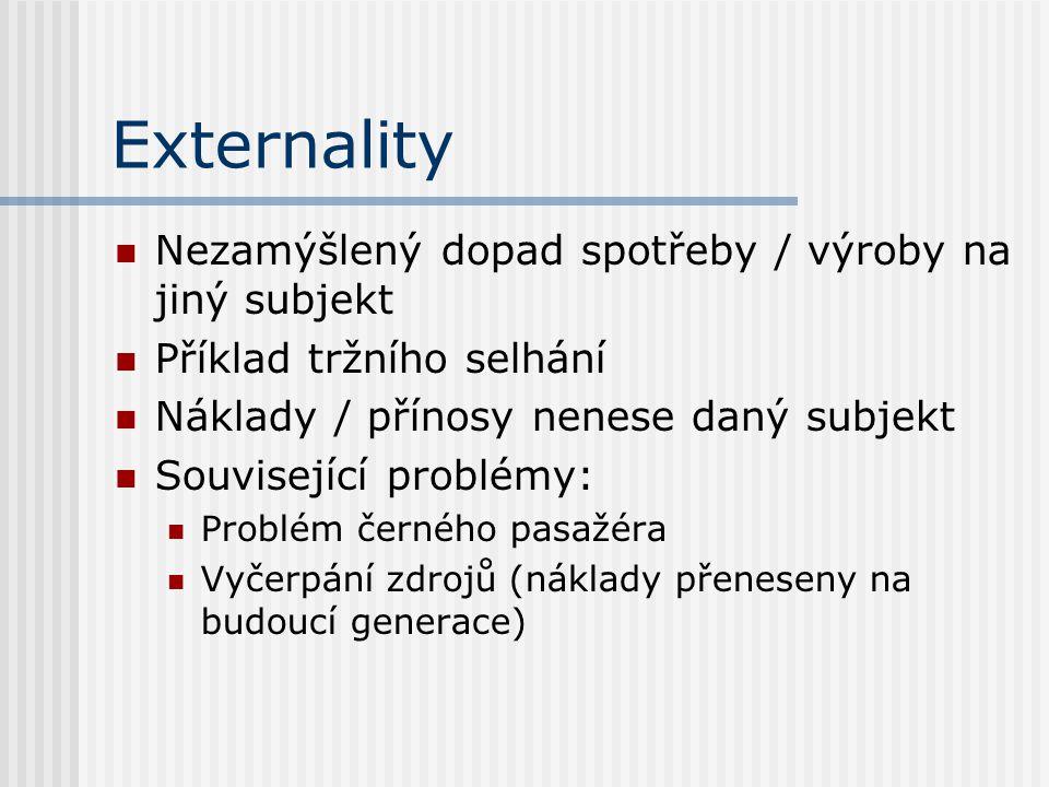 Externality Nezamýšlený dopad spotřeby / výroby na jiný subjekt Příklad tržního selhání Náklady / přínosy nenese daný subjekt Související problémy: Pr