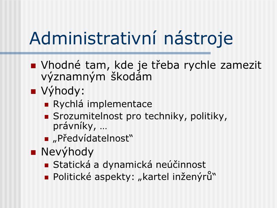 Administrativní nástroje Vhodné tam, kde je třeba rychle zamezit významným škodám Výhody: Rychlá implementace Srozumitelnost pro techniky, politiky, p