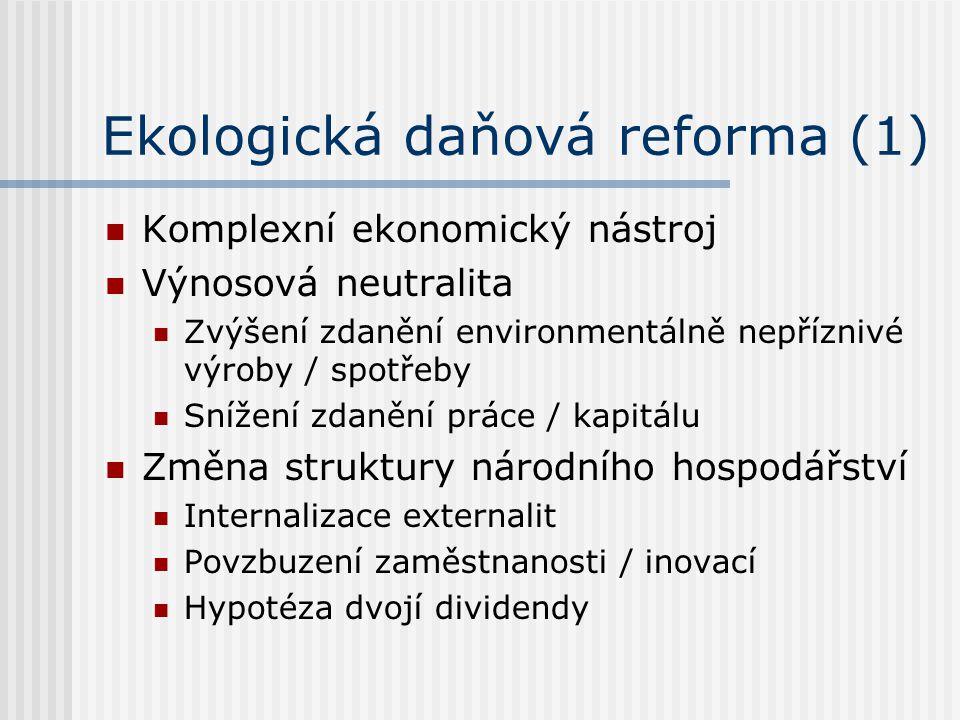 Ekologická daňová reforma (1) Komplexní ekonomický nástroj Výnosová neutralita Zvýšení zdanění environmentálně nepříznivé výroby / spotřeby Snížení zdanění práce / kapitálu Změna struktury národního hospodářství Internalizace externalit Povzbuzení zaměstnanosti / inovací Hypotéza dvojí dividendy