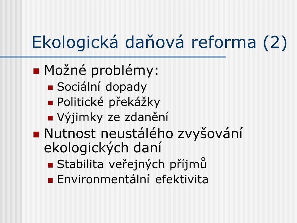 Ekologická daňová reforma (2) Možné problémy: Sociální dopady Politické překážky Výjimky ze zdanění Nutnost neustálého zvyšování ekologických daní Stabilita veřejných příjmů Environmentální efektivita