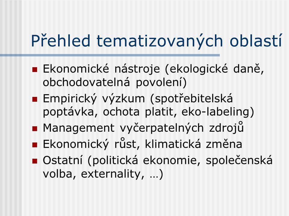 Přehled tematizovaných oblastí Ekonomické nástroje (ekologické daně, obchodovatelná povolení) Empirický výzkum (spotřebitelská poptávka, ochota platit, eko-labeling) Management vyčerpatelných zdrojů Ekonomický růst, klimatická změna Ostatní (politická ekonomie, společenská volba, externality, …)