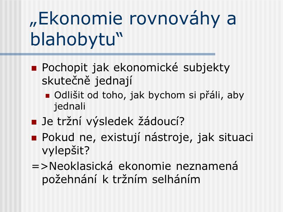 """""""Ekonomie rovnováhy a blahobytu Pochopit jak ekonomické subjekty skutečně jednají Odlišit od toho, jak bychom si přáli, aby jednali Je tržní výsledek žádoucí."""