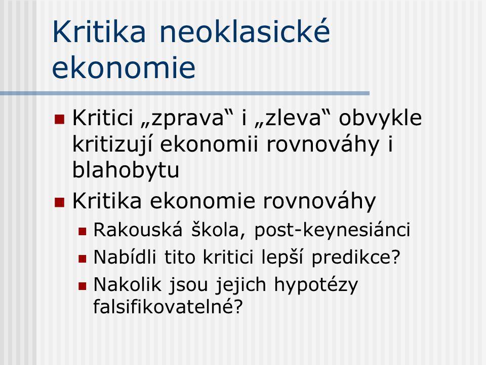 """Kritika neoklasické ekonomie Kritici """"zprava i """"zleva obvykle kritizují ekonomii rovnováhy i blahobytu Kritika ekonomie rovnováhy Rakouská škola, post-keynesiánci Nabídli tito kritici lepší predikce."""