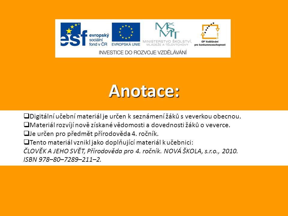 Anotace:  Digitální učební materiál je určen k seznámení žáků s veverkou obecnou.  Materiál rozvíjí nově získané vědomosti a dovednosti žáků o vever