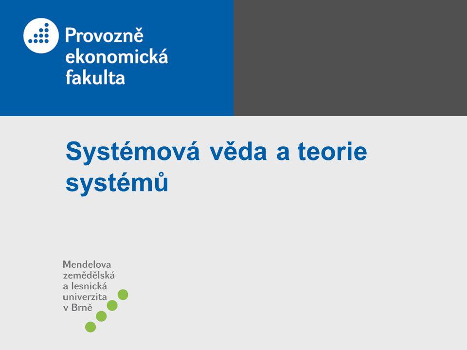 strana 2 Systémová věda vědní disciplína –má objekty studia –metody vědecké práce –původní poznatky –vyhovuje podmínkám praktických přínosů, měřitelnosti, algoritmizovatelnosti (a tedy i přenositelnosti), standardizovatelnosti, dokumentovatelnosti předmět zkoumání – systémy metody pro definici systému, jeho okolí, zobrazení systému, analýzu, optimalizaci struktury i jeho chování a realizaci