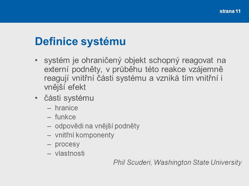 strana 11 Definice systému systém je ohraničený objekt schopný reagovat na externí podněty, v průběhu této reakce vzájemně reagují vnitřní části systému a vzniká tím vnitřní i vnější efekt části systému –hranice –funkce –odpovědi na vnější podněty –vnitřní komponenty –procesy –vlastnosti Phil Scuderi, Washington State University