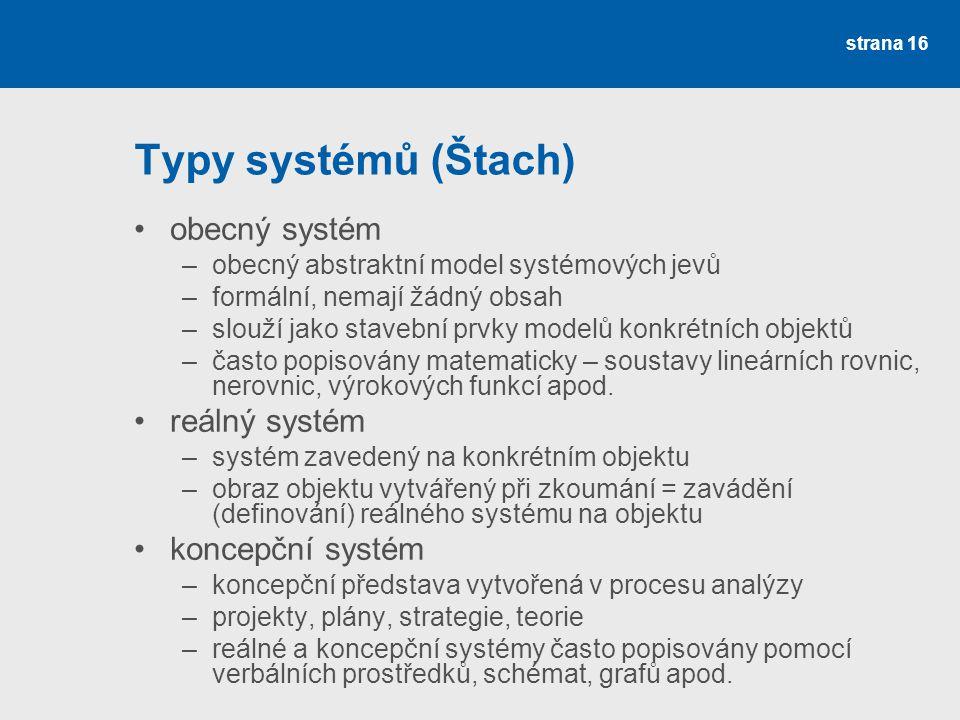 strana 16 Typy systémů (Štach) obecný systém –obecný abstraktní model systémových jevů –formální, nemají žádný obsah –slouží jako stavební prvky modelů konkrétních objektů –často popisovány matematicky – soustavy lineárních rovnic, nerovnic, výrokových funkcí apod.