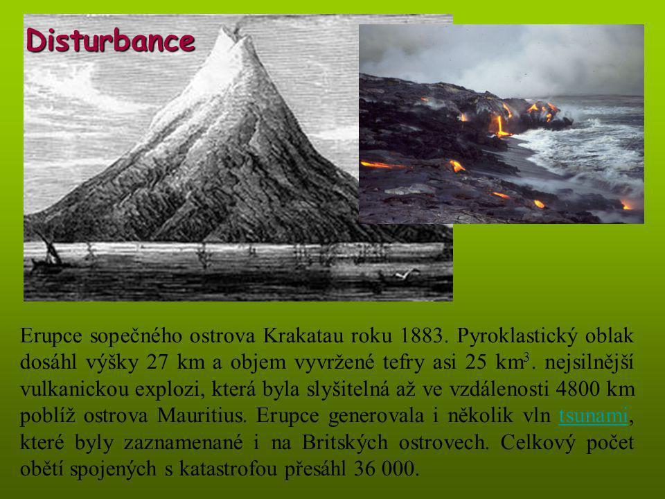 Erupce sopečného ostrova Krakatau roku 1883. Pyroklastický oblak dosáhl výšky 27 km a objem vyvržené tefry asi 25 km 3. nejsilnější vulkanickou exploz