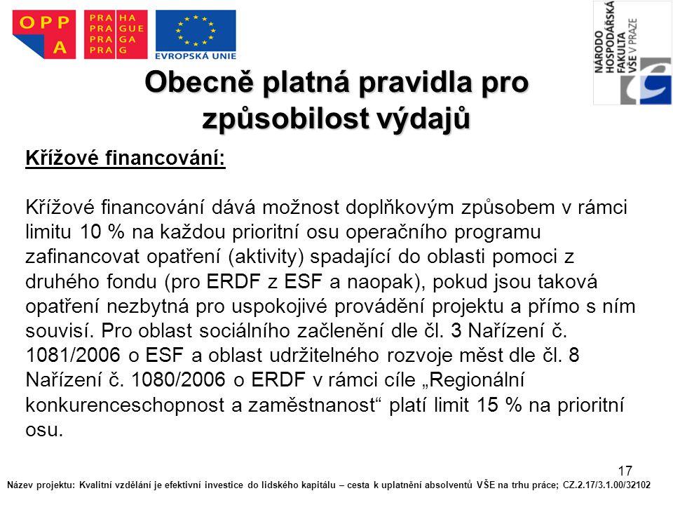 17 Obecně platná pravidla pro způsobilost výdajů Křížové financování: Křížové financování dává možnost doplňkovým způsobem v rámci limitu 10 % na každou prioritní osu operačního programu zafinancovat opatření (aktivity) spadající do oblasti pomoci z druhého fondu (pro ERDF z ESF a naopak), pokud jsou taková opatření nezbytná pro uspokojivé provádění projektu a přímo s ním souvisí.