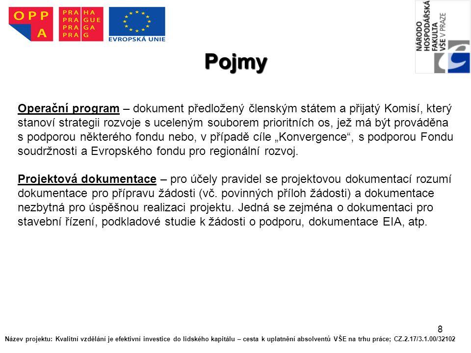 8 Pojmy Operační program – dokument předložený členským státem a přijatý Komisí, který stanoví strategii rozvoje s uceleným souborem prioritních os, j