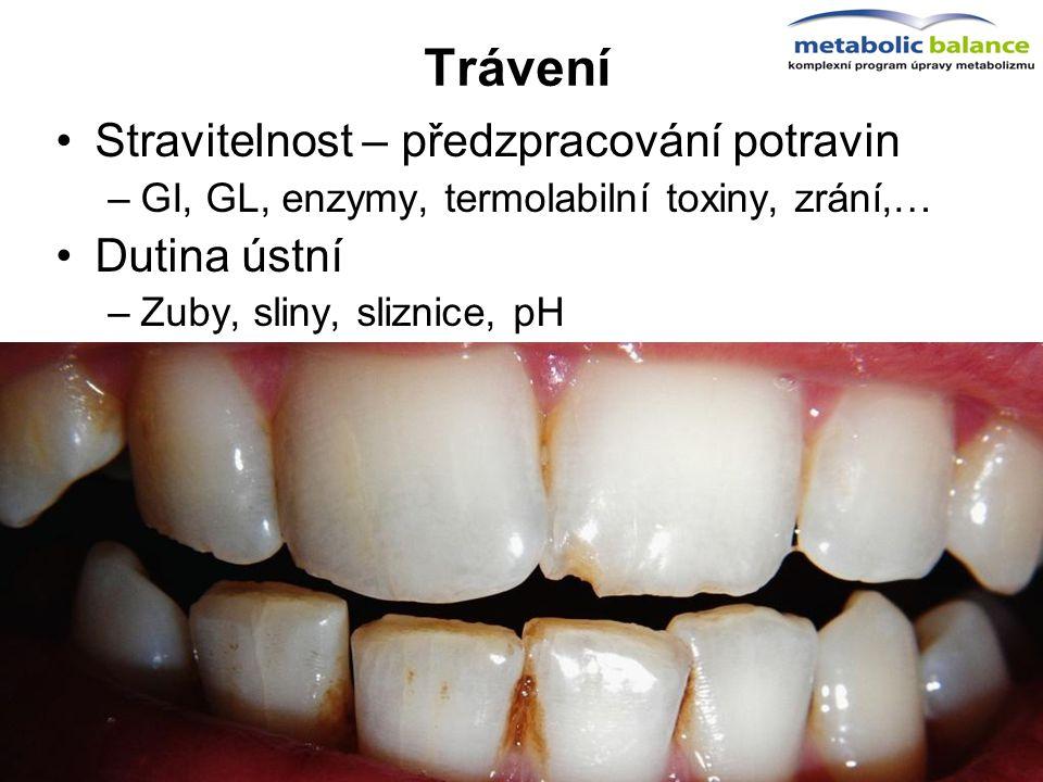 Trávení Stravitelnost – předzpracování potravin –GI, GL, enzymy, termolabilní toxiny, zrání,… Dutina ústní –Zuby, sliny, sliznice, pH Žaludek –Překyse