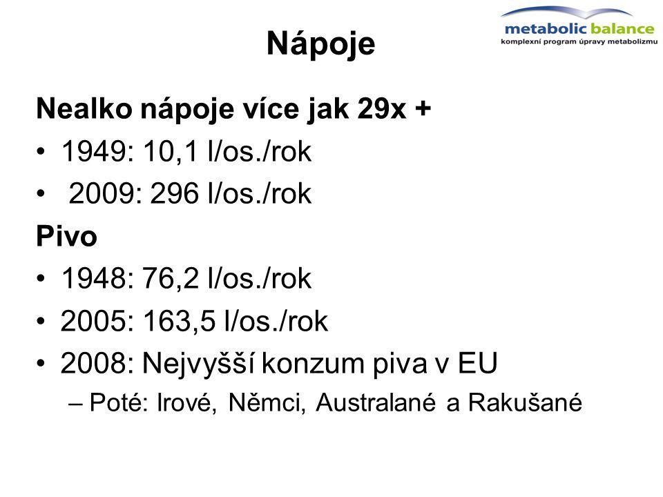 Nápoje Nealko nápoje více jak 29x + 1949: 10,1 l/os./rok 2009: 296 l/os./rok Pivo 1948: 76,2 l/os./rok 2005: 163,5 l/os./rok 2008: Nejvyšší konzum piv