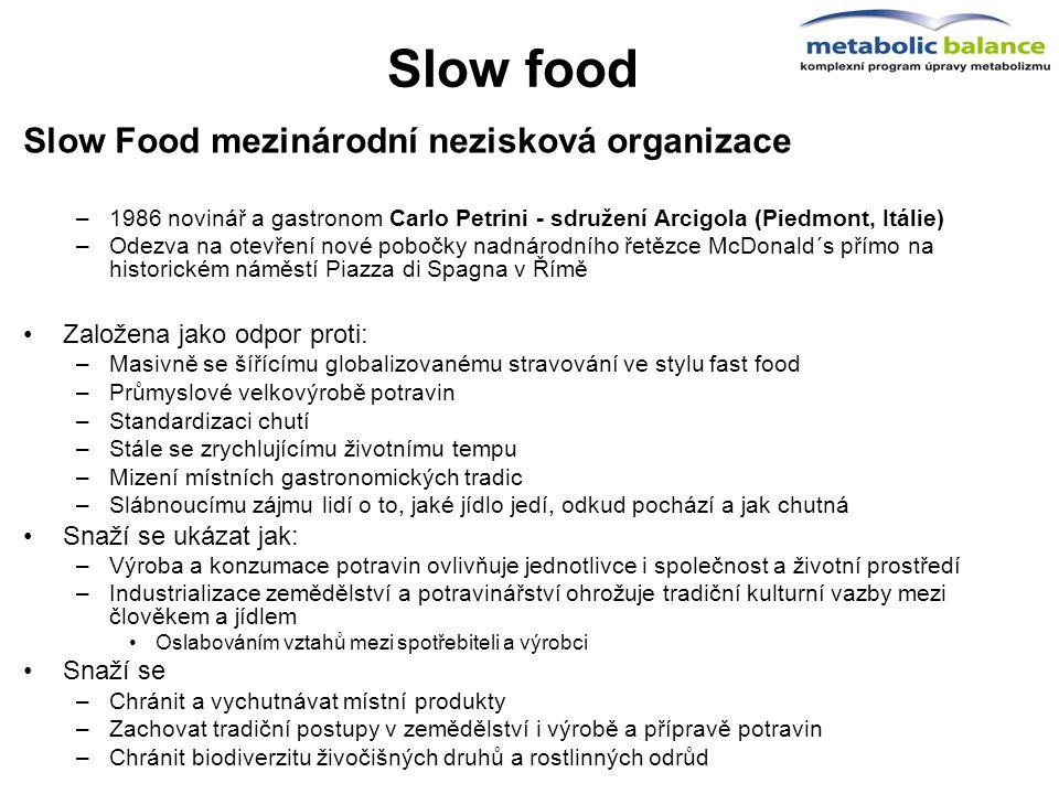 Slow food Slow Food mezinárodní nezisková organizace –1986 novinář a gastronom Carlo Petrini - sdružení Arcigola (Piedmont, Itálie) –Odezva na otevřen