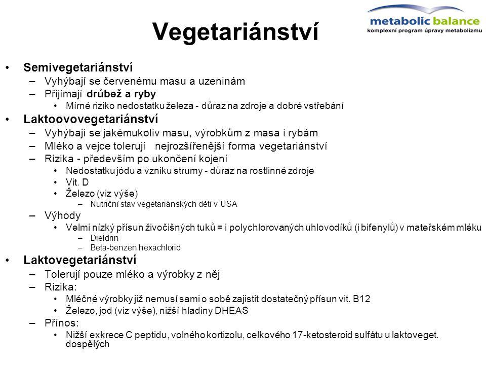Vegetariánství Semivegetariánství –Vyhýbají se červenému masu a uzeninám –Přijímají drůbež a ryby Mírné riziko nedostatku železa - důraz na zdroje a d