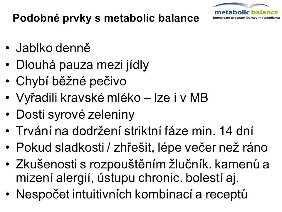 Podobné prvky s metabolic balance Jablko denně Dlouhá pauza mezi jídly Chybí běžné pečivo Vyřadili kravské mléko – lze i v MB Dosti syrové zeleniny Tr
