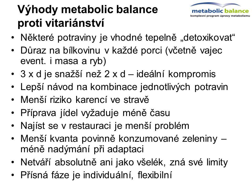 """Výhody metabolic balance proti vitariánství Některé potraviny je vhodné tepelně """"detoxikovat"""" Důraz na bílkovinu v každé porci (včetně vajec event. i"""