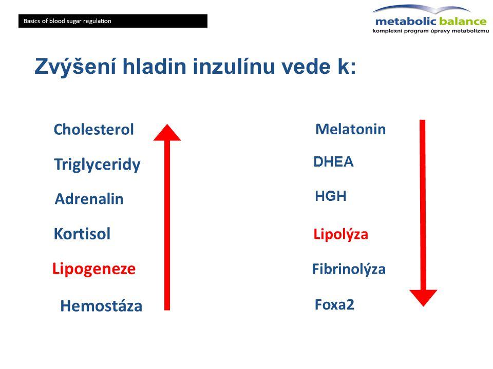 Zvýšení hladin inzulínu vede k: Basics of blood sugar regulation Cholesterol Triglyceridy Adrenalin Lipogeneze Kortisol Hemostáza DHEA HGH Lipolýza Fi