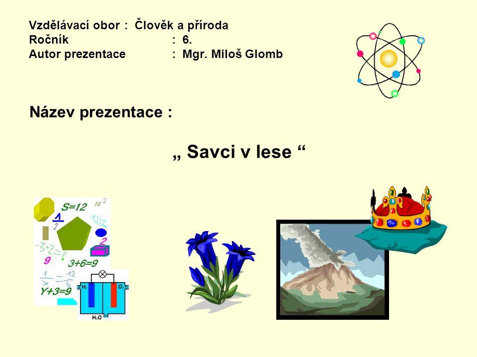 """Vzdělávací obor: Člověk a příroda Ročník : 6. Autor prezentace: Mgr. Miloš Glomb Název prezentace : """" Savci v lese """""""