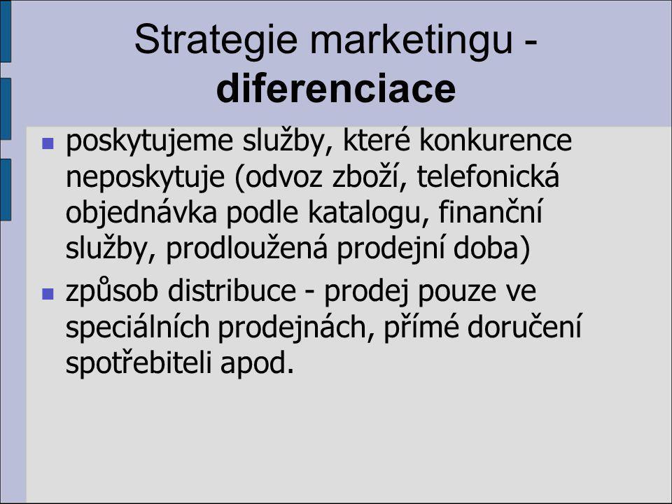 Strategie marketingu - diferenciace poskytujeme služby, které konkurence neposkytuje (odvoz zboží, telefonická objednávka podle katalogu, finanční služby, prodloužená prodejní doba) způsob distribuce - prodej pouze ve speciálních prodejnách, přímé doručení spotřebiteli apod.