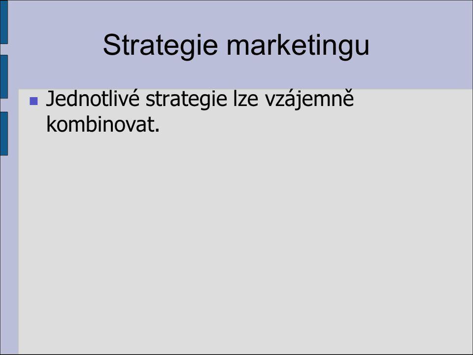 Strategie marketingu Jednotlivé strategie lze vzájemně kombinovat.