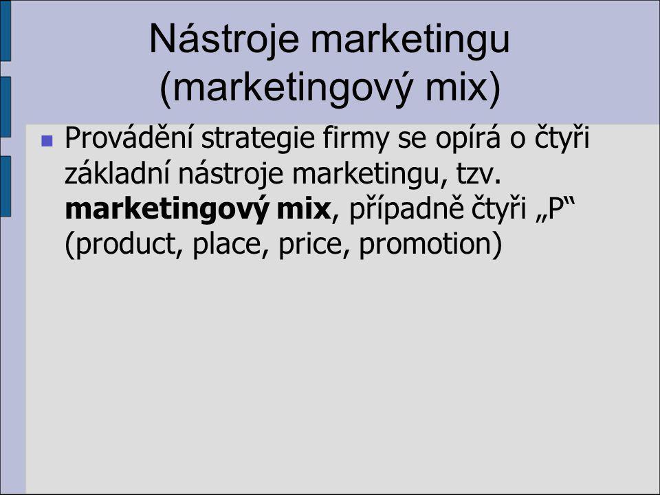 Nástroje marketingu (marketingový mix) Provádění strategie firmy se opírá o čtyři základní nástroje marketingu, tzv.
