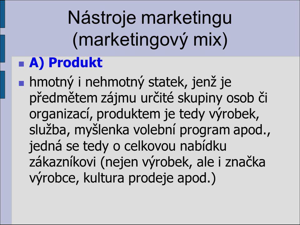 Nástroje marketingu (marketingový mix) A) Produkt hmotný i nehmotný statek, jenž je předmětem zájmu určité skupiny osob či organizací, produktem je tedy výrobek, služba, myšlenka volební program apod., jedná se tedy o celkovou nabídku zákazníkovi (nejen výrobek, ale i značka výrobce, kultura prodeje apod.)