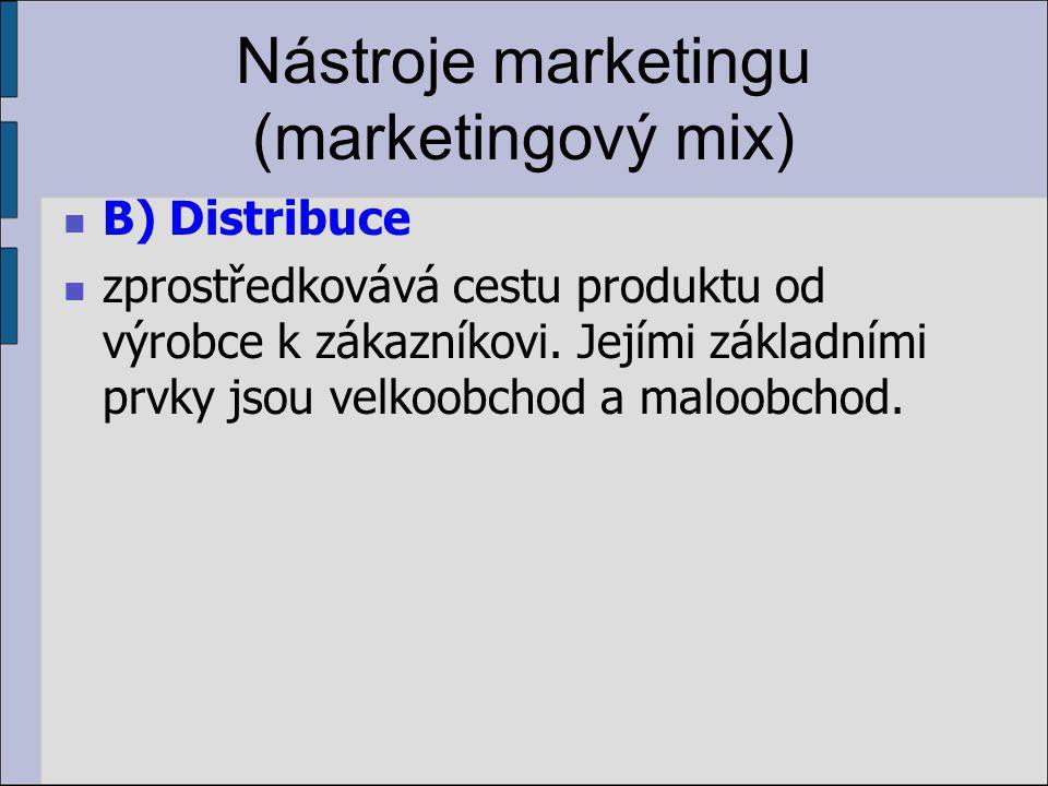 Nástroje marketingu (marketingový mix) B) Distribuce zprostředkovává cestu produktu od výrobce k zákazníkovi.