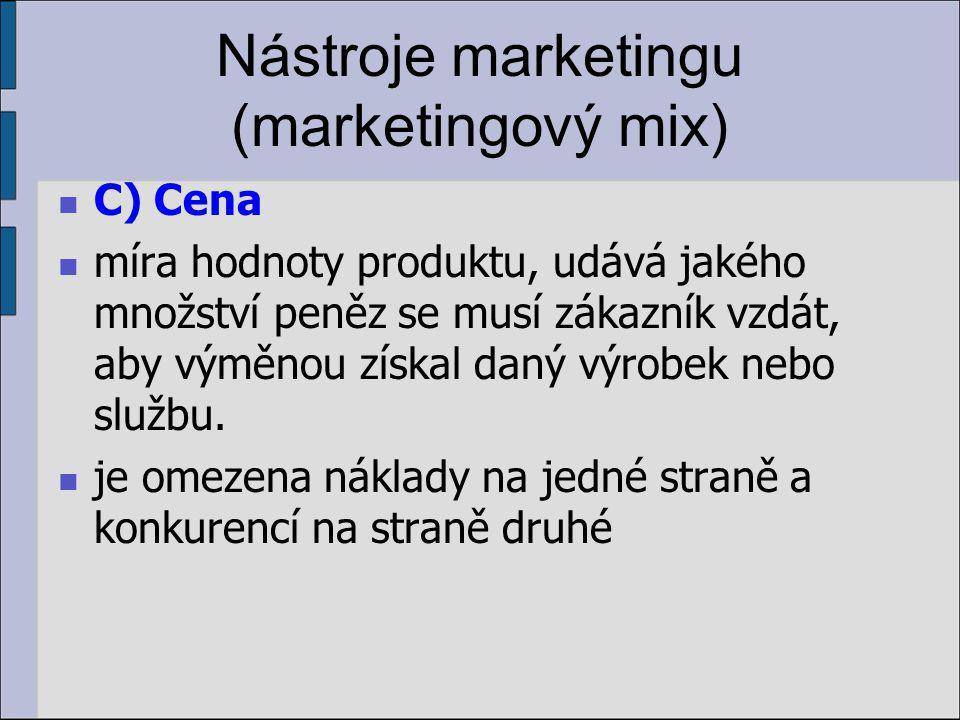 Nástroje marketingu (marketingový mix) C) Cena míra hodnoty produktu, udává jakého množství peněz se musí zákazník vzdát, aby výměnou získal daný výrobek nebo službu.
