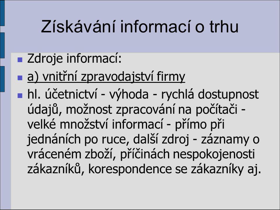 Získávání informací o trhu Zdroje informací: a) vnitřní zpravodajství firmy hl.