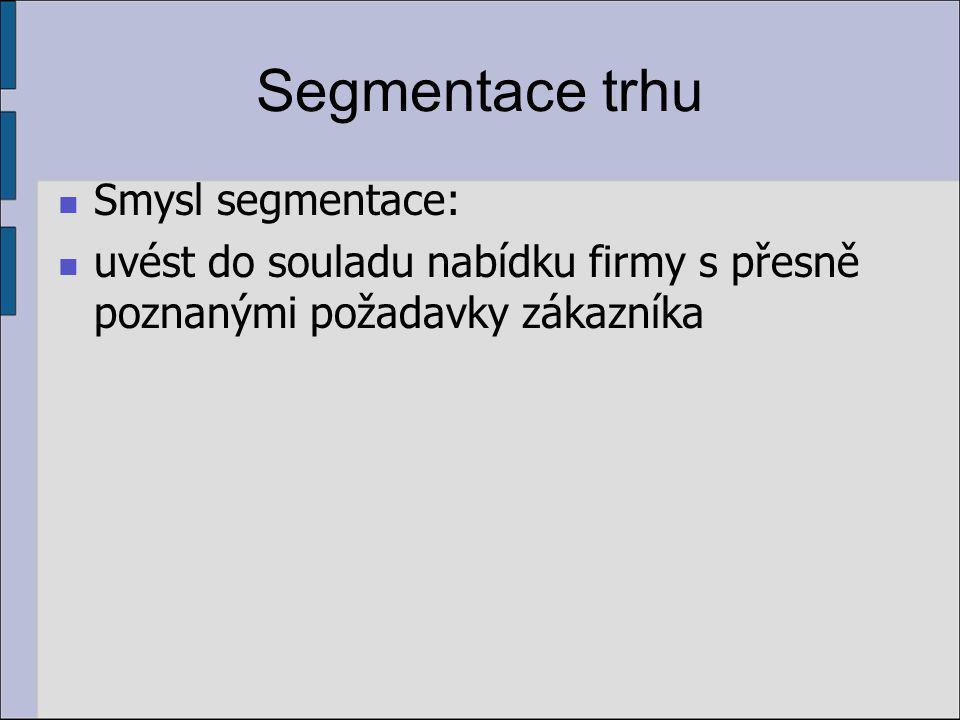 Segmentace trhu Smysl segmentace: uvést do souladu nabídku firmy s přesně poznanými požadavky zákazníka
