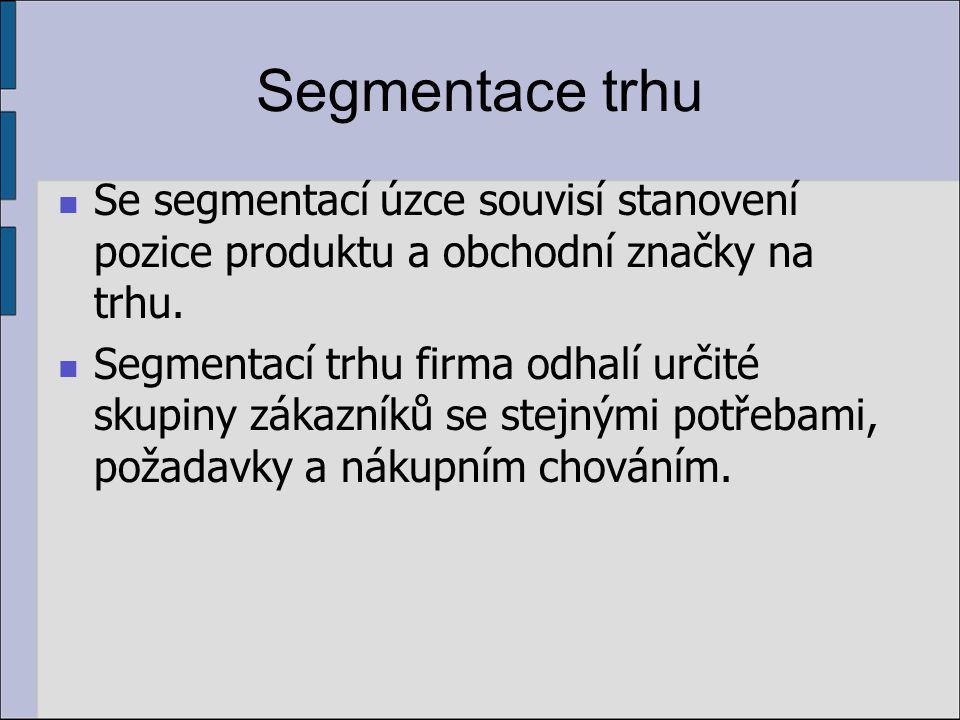 Segmentace trhu Se segmentací úzce souvisí stanovení pozice produktu a obchodní značky na trhu.
