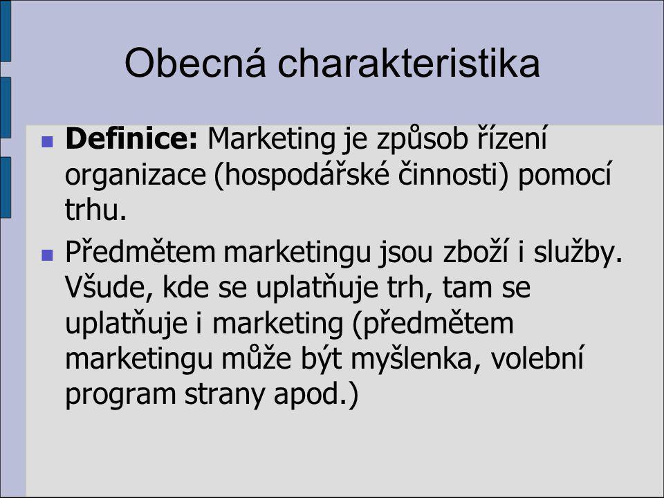 Obecná charakteristika Definice: Marketing je způsob řízení organizace (hospodářské činnosti) pomocí trhu.
