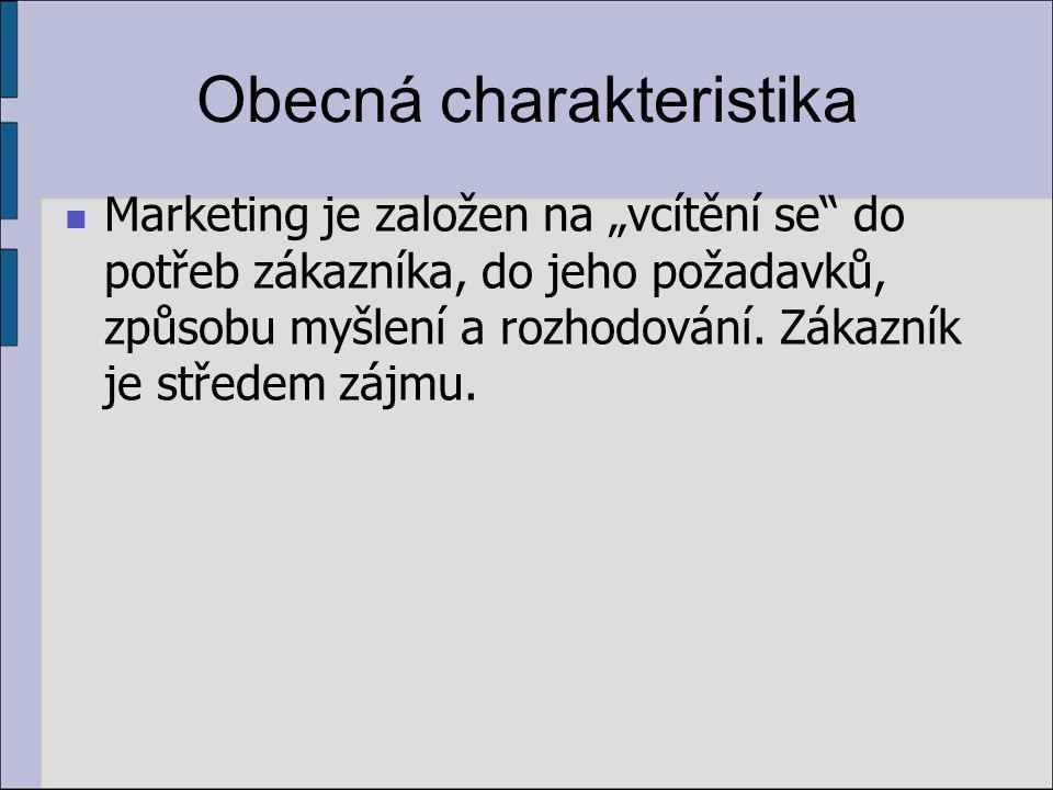 Obecná charakteristika 2 základní prvky marketingu: orientace na potřebu zákazníka úsilí o nabytí výhody nad ostatními konkurenty
