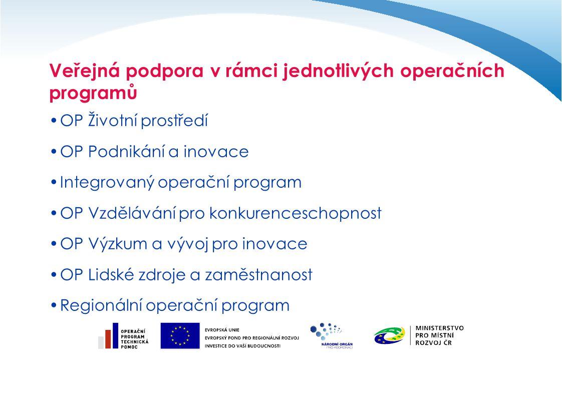Veřejná podpora v rámci jednotlivých operačních programů OP Životní prostředí OP Podnikání a inovace Integrovaný operační program OP Vzdělávání pro konkurenceschopnost OP Výzkum a vývoj pro inovace OP Lidské zdroje a zaměstnanost Regionální operační program