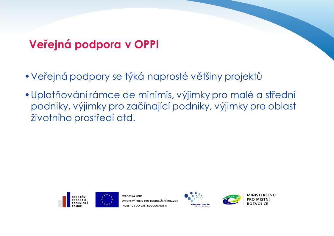 Veřejná podpora v OPPI Veřejná podpory se týká naprosté většiny projektů Uplatňování rámce de minimis, výjimky pro malé a střední podniky, výjimky pro začínající podniky, výjimky pro oblast životního prostředí atd.