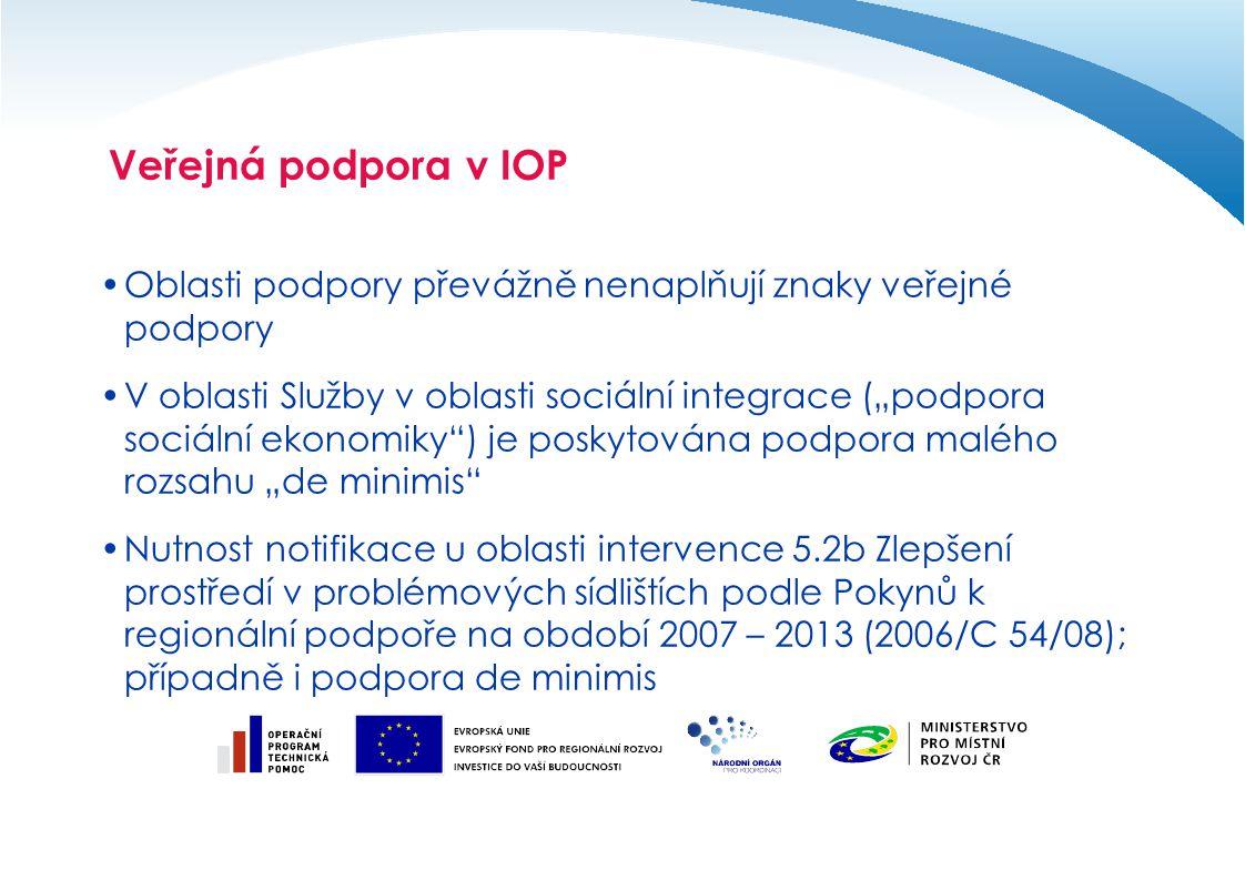 """Veřejná podpora v IOP Oblasti podpory převážně nenaplňují znaky veřejné podpory V oblasti Služby v oblasti sociální integrace (""""podpora sociální ekono"""