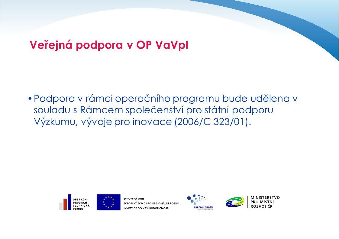 Veřejná podpora v OP VaVpI Podpora v rámci operačního programu bude udělena v souladu s Rámcem společenství pro státní podporu Výzkumu, vývoje pro ino