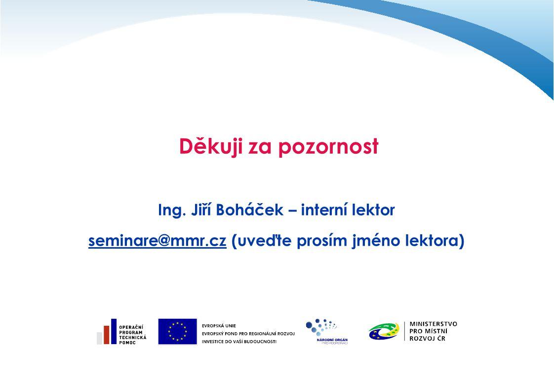 Děkuji za pozornost Ing. Jiří Boháček – interní lektor seminare@mmr.czseminare@mmr.cz (uveďte prosím jméno lektora)